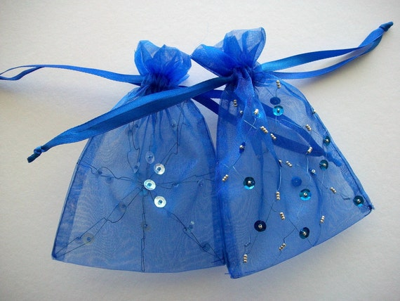 Organza Gift Bags Hand Beaded 2 Pieces