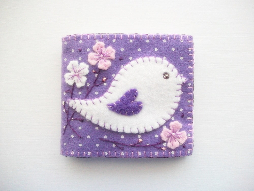 Needle Book Purple Felt With White Polka By