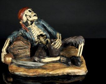 Orig Sculpture, Pirate Skeleton's Treasure - 1 of a kind