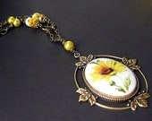 Sunflower Necklace Beaded in Porcelain Cameo and Bronze