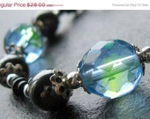 HOLIDAY SALE - Handmade Hematite Bracelet in Blue Green - Beauty
