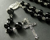Black Catholic Rosary Beaded in Silver Accents. Mens Rosary. Unisex Rosary. Handmade Rosaries.