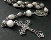 Job's Tears Catholic Rosary. Gray Rosary Beaded with Silver. Mens Rosary. Unisex Rosary.