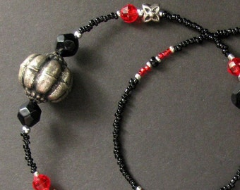 ID Lanyard or Eyeglass Chain. Red Badge Holder. Red Lanyard with Black and Aged Silver. Beaded Lanyard. Handmade Lanyard.