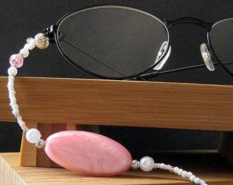 Eyeglass Chain or ID Lanyard. Candy Pink Lanyard. Beaded Lanyard. Pink Eyeglass Holder. Baby Pink Lanyard. Handmade Lanyard.