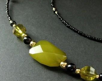 Eyeglass Holder or Badge Lanyard. Olive Green Lanyard. Beaded Lanyard. Olive Green Eyeglass Chain. Handmade Lanyard.