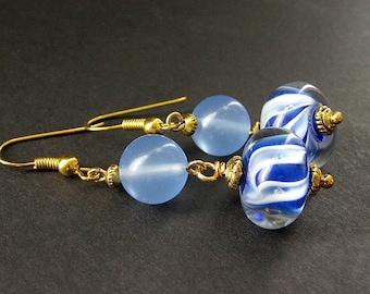 Lampwork Earrings in Blue Chalcedony. Blueberry Swirl. Handmade Earrings.