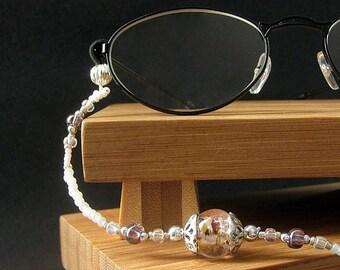 Beaded Lanyard. Pink Eyeglass Necklace. ID Lanyard. Silver Glasses Lanyard. Student Lanyard. Losing My Marbles Handmade White Lanyard.