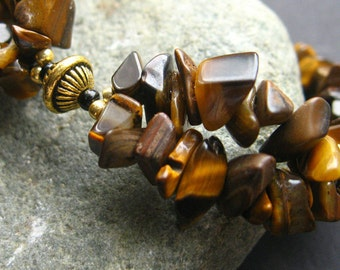 Tigers Eye Cuff Bracelet Beaded in Gemstones and Gold. Handmade Bracelet.