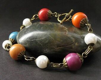 Earthy Rainbow Beaded Bracelet in Bronze and Pearls. Handmade Bracelet.
