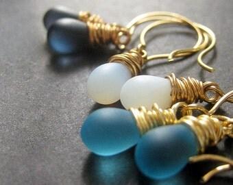 Blue Earrings Set of Three. Briolette Earrings. Dangle Earrings Wire Wrapped in Gold. Handmade Earrings.