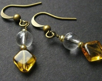 Yellow Earrings. Dangle Earrings. Glass Earrings in Bronze. Handmade Jewelry.