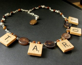 Tarot Necklace. Scrabble Tile Necklace. Petrified Wood Necklace. Beaded Necklace. Scrabble Necklace. Handmade Necklace. Handmade Jewelry.
