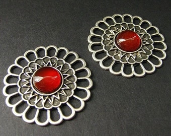 Two (2) Viking Shoulder Brooches. Norse Apron Pins in Carnelian Agate and Aged Silver. Viking Brooch Set. Historical Renaissance Jewelry.