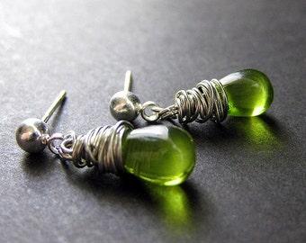 Green Glass Wire Wrapped Teardrop Dangle Stud Earrings in Silver - Elixir of Absinthe. Handmade Earrings.