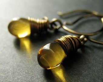 Amber Teardrop Earrings. Wire Wrapped Earrings in Bronze - Elixir of Honey. Handmade Earrings.