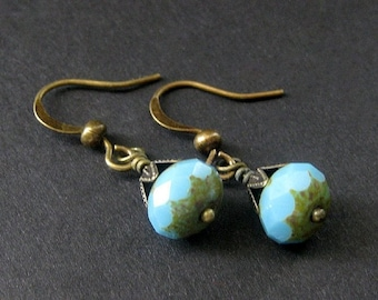 Turquoise Earrings - Glass and Bronze Earrings. Vintage Inspired. Handmade Earrings.