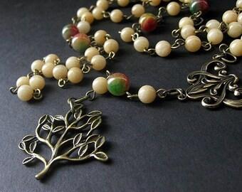 Tree Necklace. Gemstone Necklace in Aragonite, Jade and Bronze. Seasons Change Meditation Beads. Woodland Necklace. Handmade Necklace.