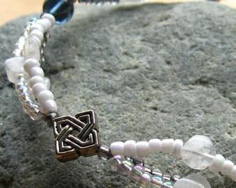 Celtic Bracelet Beaded in Moonstone, Blue and White. Handmade Bracelet.