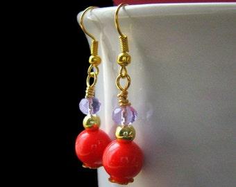 Handmade Beaded Earrings - Red Hat Ladies Cherry Tomato. Handmade Earrings.