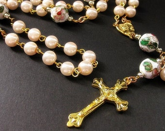 Soft Pink Rosary. Pink Pearl Rosary. Handmade Rosary. Cloisonne Flower Rosary. Traditional Rosary. Gold Rosary. Prayer Beads.