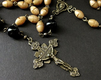 Traditional Rosary. Unisex Rosary. Catholic Rosary in Brown and Black. Handmade Rosaries for Men.