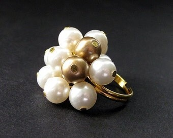 Pearl Cocktail Ring in Gold and White - A Golden Evening. Handmade.