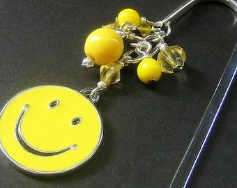 Beaded Bookmark, Book Charm, Book Hook. Yellow Happy Face. Handmade.