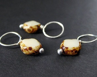 No Snag Stitch Markers in Earthy Mushroom and Silver. Handmade.