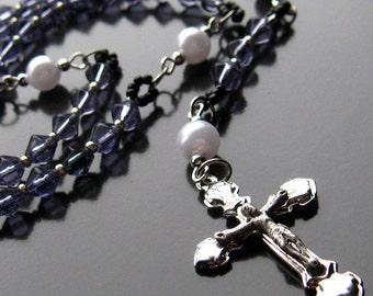 Purple Holy Rosary Beaded in Glass and Silver - Elegant Prayers Handmade Rosary by Gilliauna