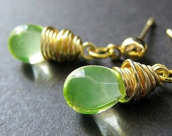 Lemon Lime Wire Wrapped Teardrop Earrings in Gold and Stud Earring Backs. Handmade Jewelry by Gilliauna