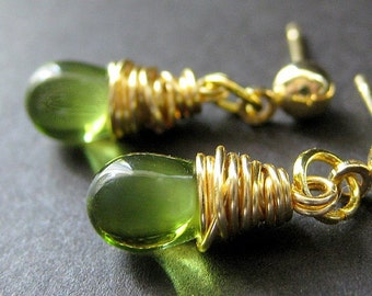 Green Earrings: Wire Wrapped Earrings. Gold Post Earrings. Handmade Jewelry by Gilliauna