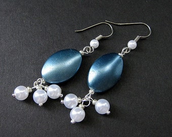 Cadet Blue Earrings. Beaded Pearl Dangle Earrings - Blue Twilight. Handmade Earrings.
