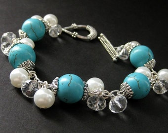 Turquoise Howlite Charm Bracelet with White Pearl, Crystal and Silver. Handmade Jewelry by Gilliauna