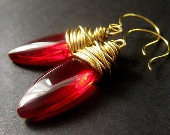 Red Earrings.  Red Dangle Earrings. Glass Earrings. Red Drop Earrings. Wire Wrapped Earrings.