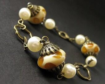 Spotted Mushrooms Bracelet. Lampwork Glass Bracelet. Bronze Beaded Bracelet. Handmade Bracelet.