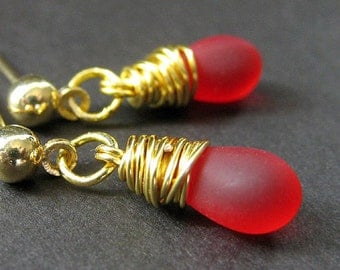 Red Earrings Wire Wrapped Teardrop Dangle Stud Earrings. Handmade Jewelry by Gilliauna