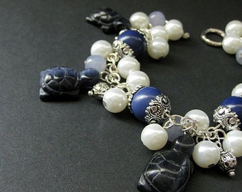 Turtle Bracelet. Tortoise Charm Bracelet with Navy Blue Turtles, Gemstones and Pearls. Handmade Bracelet.