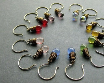 Wire Wrapped Earrings Set. Dangle Earrings. Teardrop Earrings in Clear Glass and Bronze - Set of Seven. Handmade Earrings.
