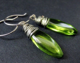 Green Dangle Earrings: Silver Wire Wrapped Earrings with Elliptical Glass Drops. Handmade Earrings.