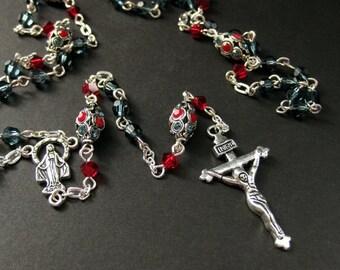 Swarovski Crystal Rosary in Siam Red and Montana Blue. Handmade Jewelry by Gilliauna