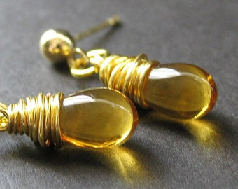Topaz Gold Earrings: Glass Teardrop Earrings with Post Earrings. Handmade Jewelry.