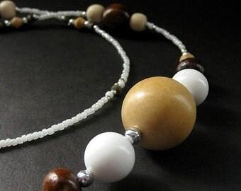 Eyeglass Necklace or ID Necklace. Wooden Lanyard. Badge Lanyard. Wood Eyeglass Chain. Beaded Lanyard. Hawaiian Style Handmade Lanyard.