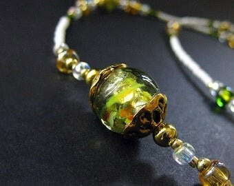Eyeglass Chain. Green Badge Lanyard. Lampwork Glass Eyeglass Holder. Teacher Lanyard. Losing My Marbles Glasses Necklace. Handmade Lanyard.