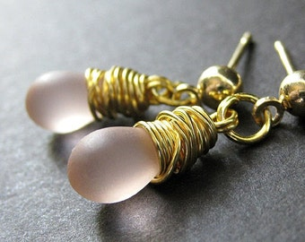 Pink Earrings Wire Wrapped Teardrop Earrings and Post Earring Backs. Handmade Jewelry by Gilliauna