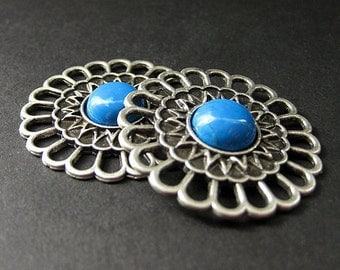 Two (2) Aged Silver Viking Brooches. Aqua Howlite Apron Pins. Historical Jewelry. Norse Shoulder Brooches. Historical Renaissance Jewelry.