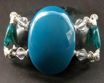 Beaded Teal Bracelet, Crystal Cuff Bracelet. Handmade Jewelry by Gilliauna