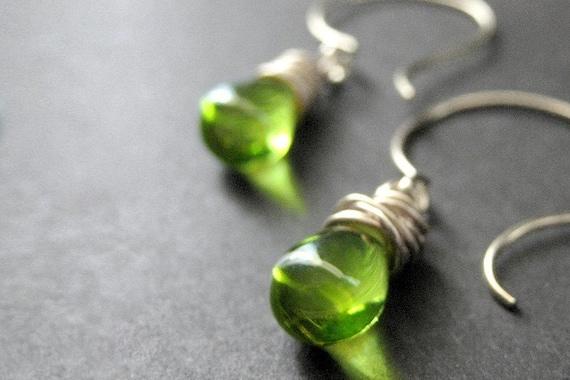 Green Glass and Silver Wire Wrapped Teardrop Earrings - Elixir of Absinthe