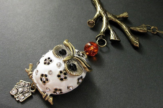 Autumn Owl Necklace. Beaded Amber Necklace with White Owl and Bronze. Handmade Jewelry.