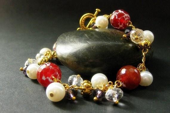 Gemstone Bracelet: Charm Bracelet in Fire Agate, Amethyst, Crystal and Pearl - Limited Edition. Handmade Bracelet.